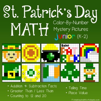 St. Patrick's Day Math Color-By-Number Bundle (K-2)
