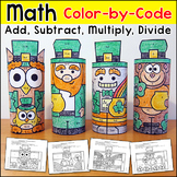 St. Patrick's Day Math Color by Code Characters: Leprechaun, Robot, Monkey, Owl