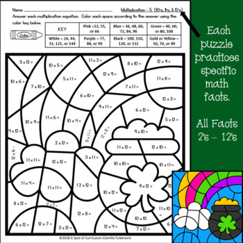 st patricks day math color by number multiplication - St Patricks Day Pictures To Color 2
