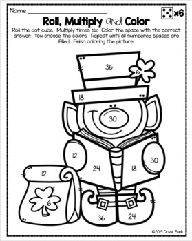 St. Patrick's Day Math Coloring Worksheets Multiplication Roll Solve and Color