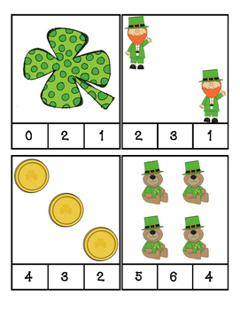 St. Patrick's Day - Math - Count and Clip Cards - Counting