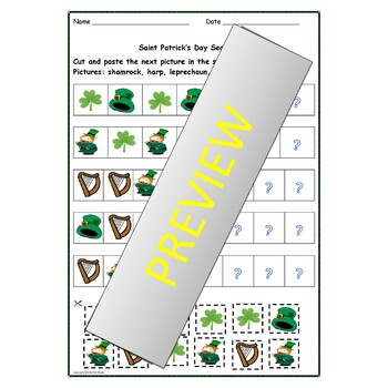 St Patrick's Day Math Count and Graph Patterning Counting Match Up, Puzzles