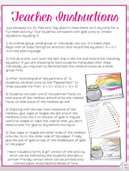 Rainbow Math Craft Partners of 10