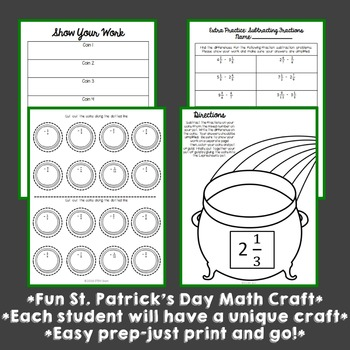 St. Patrick's Day Math Craft: Subtracting Fractions with Unlike Denominators