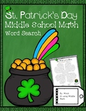 St. Patrick's Day Math Middle School Math Word Search