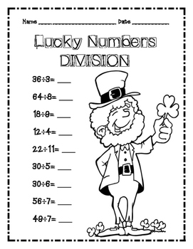 St. Patrick's Day Math Division / Lucky Numbers