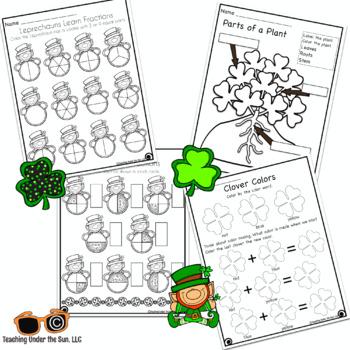 St. Patrick's Day Math, ELA, Science, No Prep, Print and Go