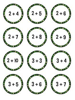 St. Patrick's Day Math Facts Treasure Hunt  Freebie - Addition Version