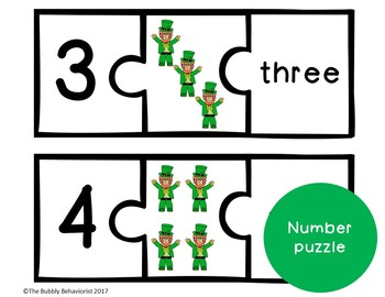 St. Patrick's Day Math File Folder Games