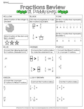 St. Patrick's Day Emoji [Math Fraction Review]