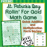 St. Patrick's Day Math Game, Addition, Multiplication Facts, 100's Chart Review