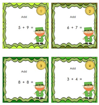 St. Patrick's Day Math Game Addition Subtraction Word Problems Centers