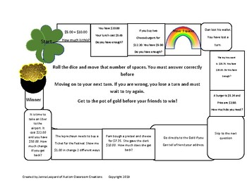 St Patrick's Day Math Game- Get to the Gold!