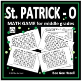 St. Patrick's Day Math Game for Middle Grades (St. PATRICK-O)