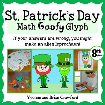 St. Patrick's Day Math Goofy Glyph (8th Grade Common Core)