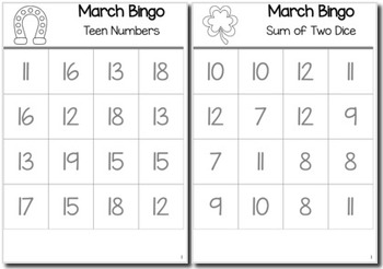 St. Patrick's Day Math Kindergarten BINGO Game Bundle