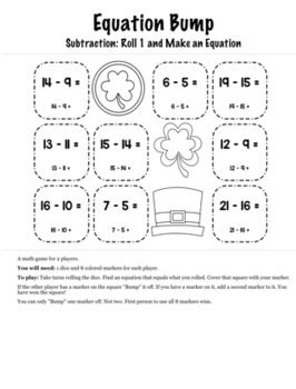 St. Patrick's Day Math Kindergarten Bump Games Bundle