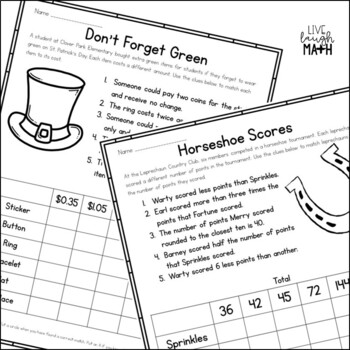 St. Patrick's Day Math Logic Puzzles for Grades 3-4