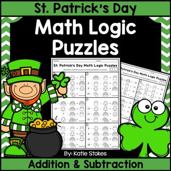 St. Patrick's Day Math Logic Puzzles - Addition & Subtraction
