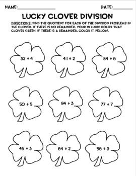 St. Patrick's Day Math: Multiplication & Division Activity