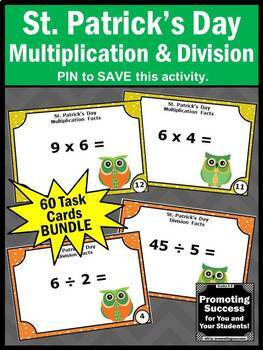 Multiplication and Division Task Cards St. Patrick's Day Math Activities Bundle