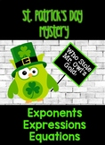 St. Patrick's Day Math Mystery- Equations, Exponents, and