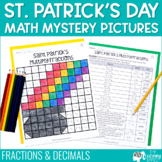 St. Patrick's Day Math Mystery Pictures | Fractions Decimals