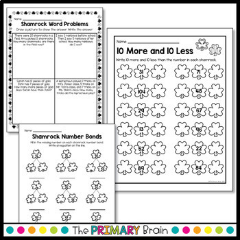 St. Patrick's Day Math NO PREP Worksheet Pack