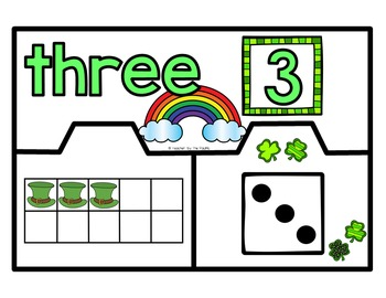 St. Patrick's Day Math Number Puzzles 1 – 10 - Ten Frames and Dice