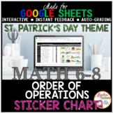 St. Patrick's Day Math Order of Operations DIGITAL STICKER CHART Google Sheets