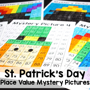St. Patrick's Day Math Place Value 100's Chart Mystery Pictures