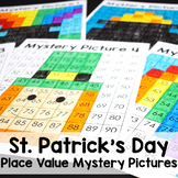 Distance Learning St. Patrick's Day Math Place Value 100s Chart Mystery Pictures