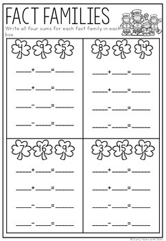 St Patrick's Day Math Printable No Prep Packet