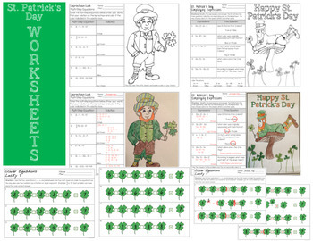St. Patrick's Day Word Problems - Task Cards and Worksheets
