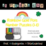 St Patrick's Day Math: Rainbow Pot Gold Counting Number Puzzles 0-10 Printable