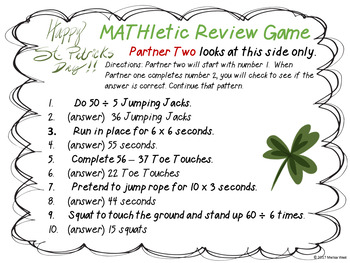 Fourth Grade St. Patrick's Day Math Review Centers