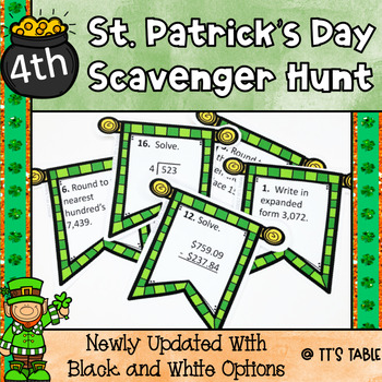 St. Patrick's Day Math Scavenger Hunt 4th Grade
