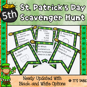St. Patrick's Day Math Scavenger Hunt 5th Grade