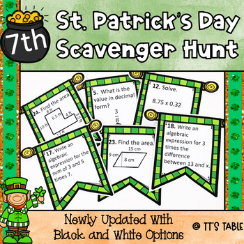 St. Patrick's Day Math Scavenger Hunt 7th Grade