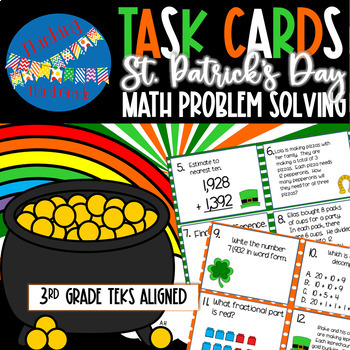 St. Patrick's Day Math Task Cards SCOOT 3rd 4th grade TEKS CCSS