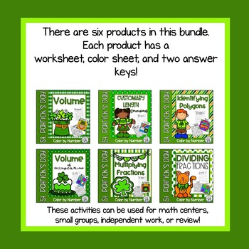 St. Patrick's Day Math Upper Elementary Color by Number Bundle