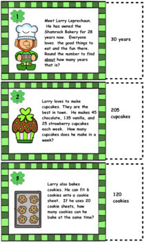 St. Patrick's Day Math Word Problem Task Card Review: Shamrock Bakery Game
