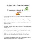 St. Patrick's Day Math Word Problems Grade 1