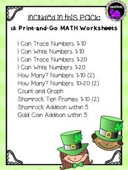 St. Patrick's Day Math Worksheets for Kindergarten