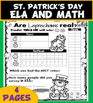 St Patrick's Day Math and ELA Leprechaun Survey