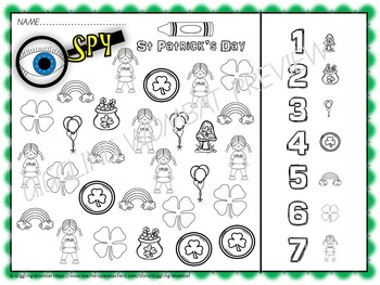 St Patrick's Day Math and Literacy Activities Pre K