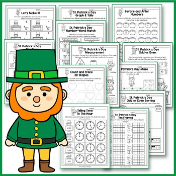 St Patrick's Day Math and Literacy, St Patrick's Day Activities Kindergarten