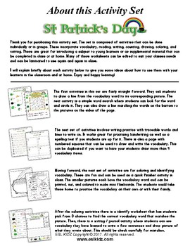 St. Patrick's Day Math and Literacy Workbook (80 pages)