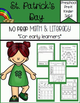 St. Patrick's Day Math and Literacy for Early Learners (NO PREP)