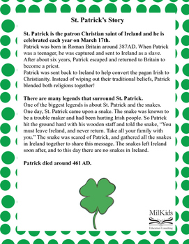 St. Patrick's Day Math and Reading Centers